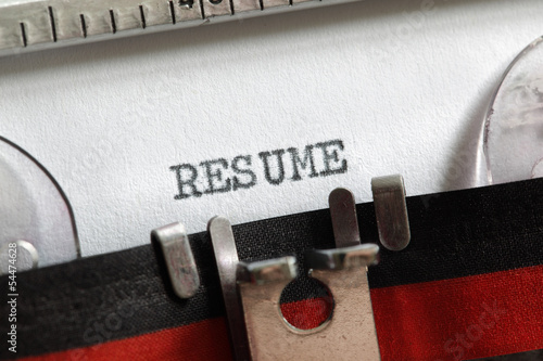 Resume written on old typewriter