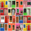 multicolor abstract facade made of images from Burano village
