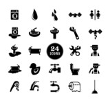 Black bathroom Icons Set
