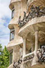 Architecture detail of Casa Mila, better known as La Pedrera, in