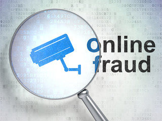 Safety concept: Cctv Camera and Online Fraud with optical glass