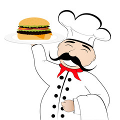 chef with cheeseburger