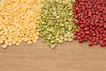 Different kinds of bean,soy bean ,mung bean and azuki bean