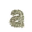 Kleiner Buchstabe a gebildet aus Dollar Banknoten