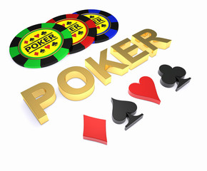 Golden word POKER, chips and card sign