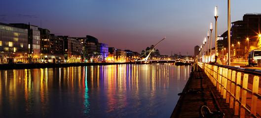 South bank of the river Liffey at Dublin City Center at night
