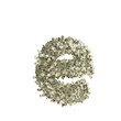 Kleiner Buchstabe e gebildet aus Dollar Banknoten