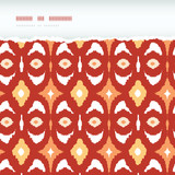 Vector red and gold ikat geometric frame horizontal torn