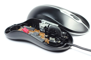Dismantled computer mouse