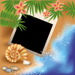 Summer photo frame with seashell and flowers, vector