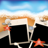 Summer photoframe with starfish and stone vector