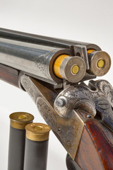 double barreled old shotgun charged