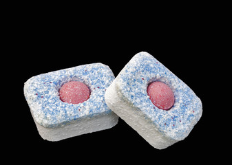 dishwasher detergent tablets macro isolated