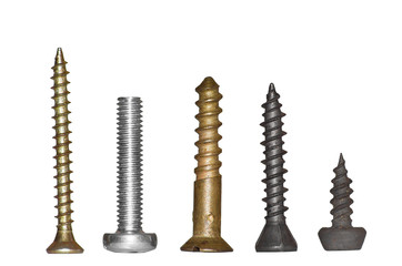 Group of different screws close up