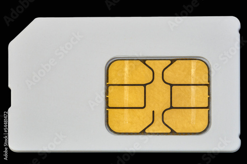 mobile phone sim card isolated on black