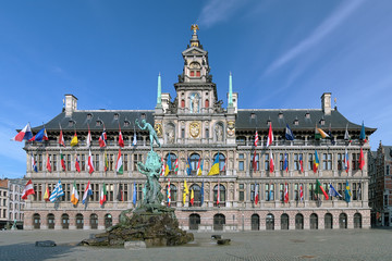Antwerp City Hall and Brabo fountain, Belgium