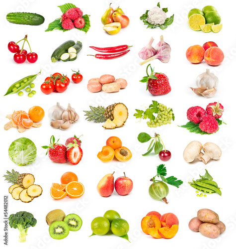 Set of fresh vegetables and fruits