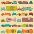 Colorful seamless pattern , vintage sports racing cars.