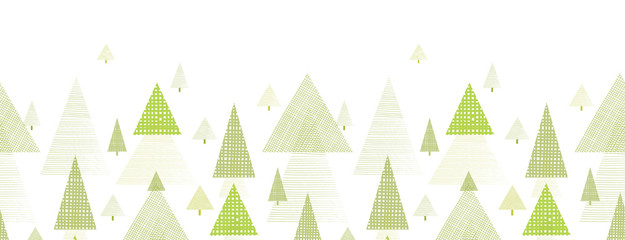 Abstract pine tree forest horizontal seamless pattern background