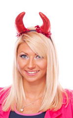Blonde with red horns