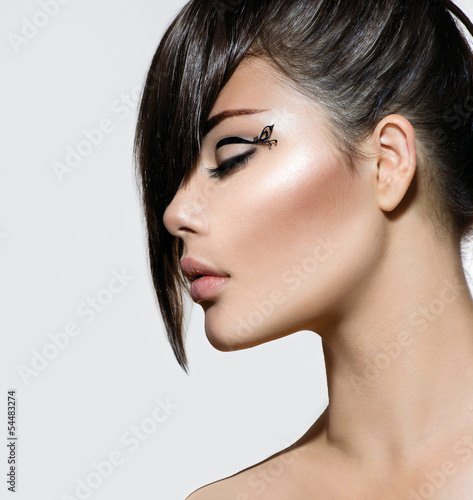 Fashion Glamour Beauty Girl With Stylish Hairstyle and Makeup