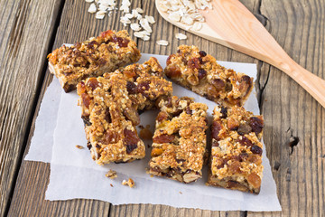 Granola bars with nuts and dried fruits