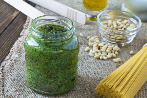 Pesto sauce and ingredients for pasta pesto