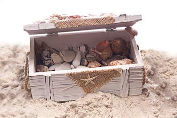 offene Holztruhe im Sand
