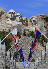 Mount Rushmore National Monument with state flags