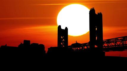 California Sacramento Tower Bridge sunrise