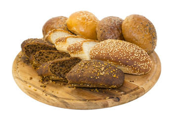bread and buns on wooden plate