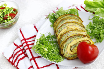 Roulade slices stuffed with vegetables