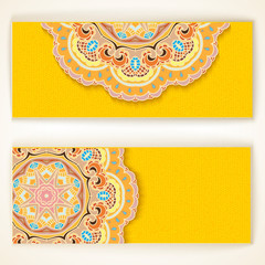 Lace pattern background with indian ornament