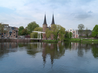 Panoramic view of Delft with east gate and typical bridge