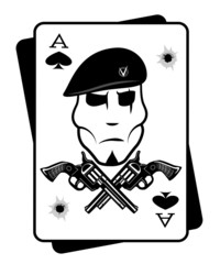 Soldiers gun and playing cards