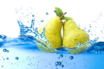 pear splash in the water