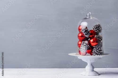 Modern minimalist christmas decoration with glass dome
