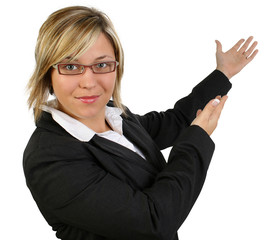 Beautiful happy business woman or teacher in suit with hands out