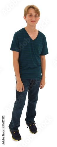 Handsome shy teen boy standing over white with clipping path.