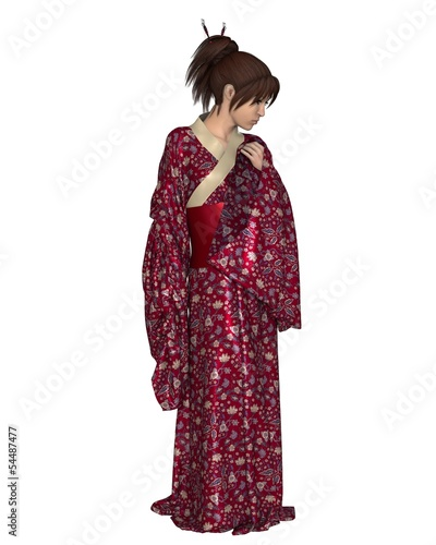 Young Japanese Woman Wearing a Red Kimono