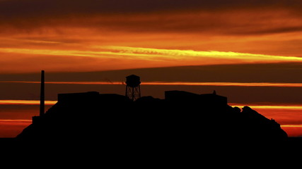 San Francisco Alcatraz sunset stripes
