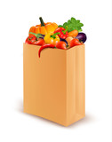 Background with fresh vegetables in paper bag. Healthy Food. Vec