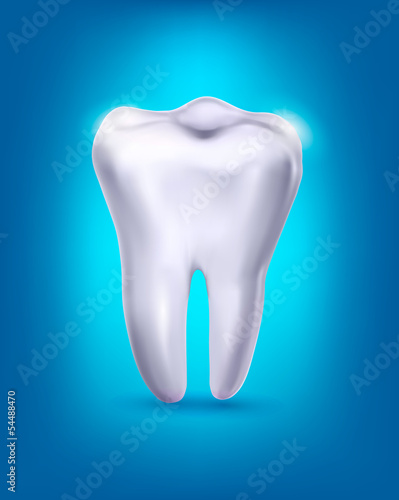 White tooth on a blue background. Vector.