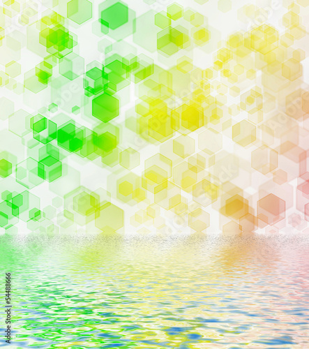 Green hexagon bokeh background reflected in water surface.