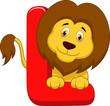 Alphabet L with lion cartoon