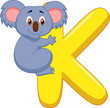 Alphabet K with Koala cartoon