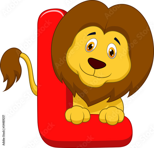 Alphabet L with lion cartoon
