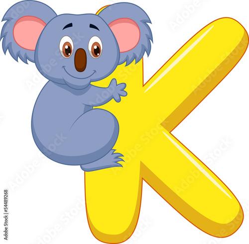 Alphabet K with Koala cartoon