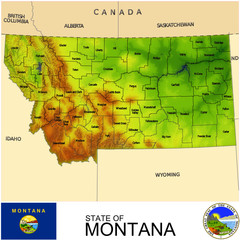 Montana USA counties name location map background