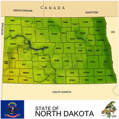 North Dakota USA counties name location map background